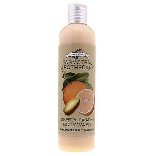 Farmstead Apothecary 100% Natural Body Wash with Organic Coconut Oil, Organic Sunflower Oil & Organic Vitamin E Oil, Grapefruit Almond 12 oz
