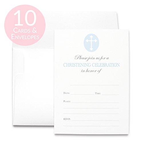 Elegant Fill in Christening (Baby Boy Christening Invitations)