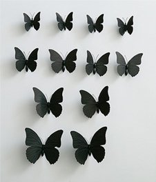 12pc Wall Stickers Butterfly Decal (Black)