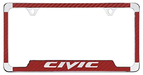 Honda Civic License Plate Frame - Honda Civic Simulated Carbon Fiber License Plate Frame Holder (Red)