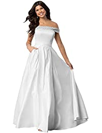 a3c957b44936 Women's Off The Shoulder Beaded Satin Prom Dress A-line Formal Gown with  Pockets