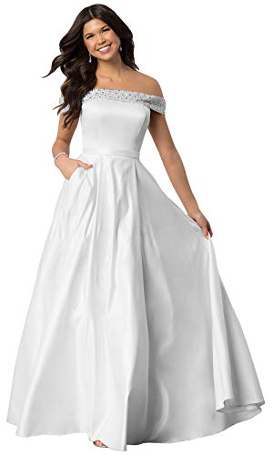 Lianai Women's Strapless Beaded Wedding Dress Off The Shoulder Satin Bridal Party Gown White,12