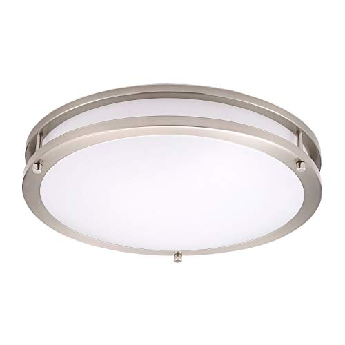 OSTWIN 14 LED Ceiling Light Fixture Flush Mount, Dimmable, Round 21 Watt (120W Repl.) 5000K Daylight, 1470 Lm, Nickel Finish with Acrylic Shade ETL and Energy Star Listed