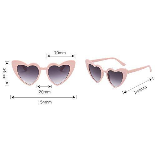 Gris Love Glasses Style Classique Lunettes de Rétro Lunettes soleil Polarisé chat protectrices Meijunter Protection lunettes de En Oeil Heart forme Élégant Rose1 UV de YxF1wnBB