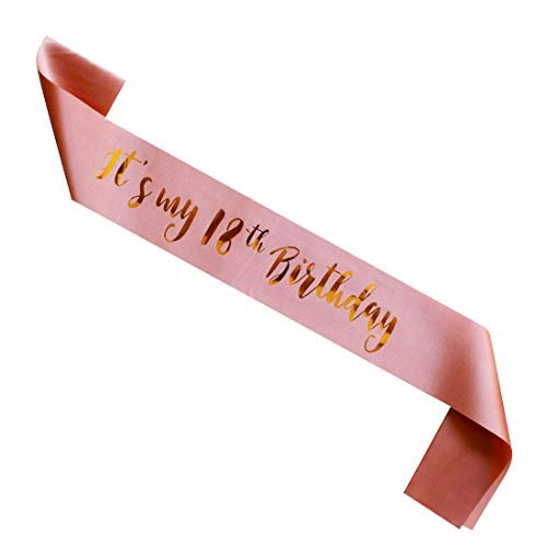 MAGJUCHE Its My 18th Birthday Sash Rose Gold Girl 18 Years Gifts Party Supplies Pink Decorations
