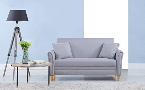 Divano Roma Furniture Modern 2 Tone Small Space Linen Fabric Loveseat (Light Grey) (Colette Loveseat)