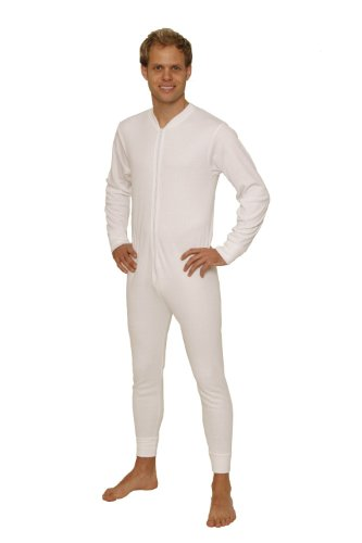 Octave Mens Thermal Underwear All in One Union Suit with Zipped Back Flap (Ex-Ex-Large: Chest 48-50 inches, White) by Octave