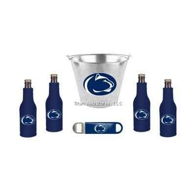 NCAA Penn State Beer Bucket, Bottle Suit (4) and Opener Set | Nittany Lions Koozie & Bucket Gift Set