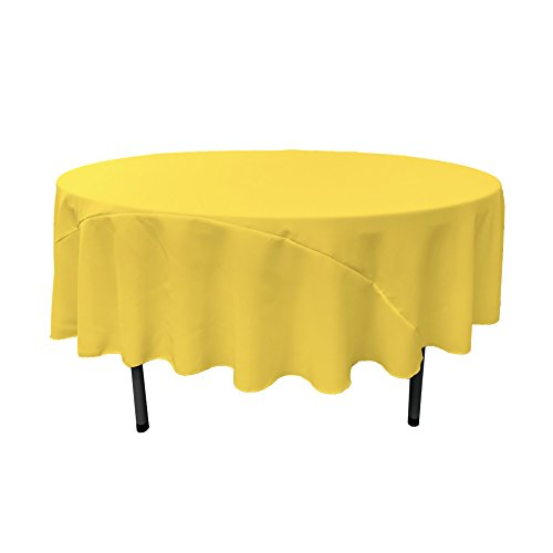 LA Linen 90-Inch Round Polyester Poplin Tablecloth / Pack of 1 / Light Yellow.