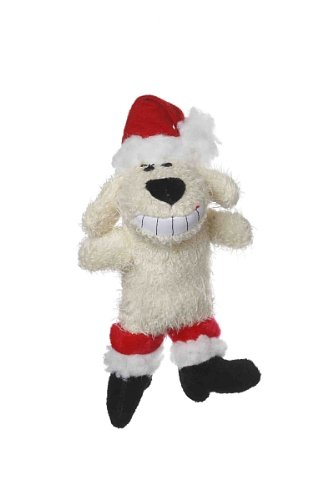Multipet's Beige 6-Inch Santa Loofa Plush Dog Toy That Squeaks, My Pet Supplies