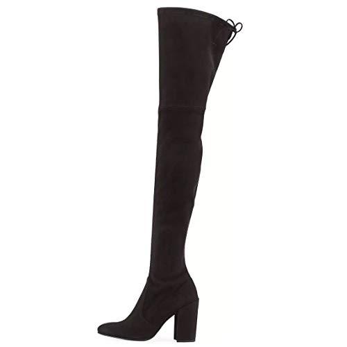 Stuart Weitzman NUALLLEGS Over The Knee Thigh High Stretch Suede Block Heel Boots Womens 8.5 M Noir