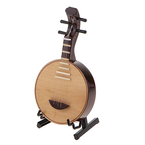 kesoto Wooden Moon Lute Guitar Model Instrument 12.5cm Beginner Practice Supplies