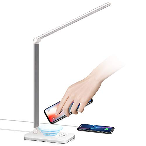 bedee LED Desk Lamp with Wireless Charger, Eye-Caring Table Lamps for Kids Study Office Bedside, Dimmable Desktop Lamp with Touch Control 5 Brightness Levels, 5 Lighting Modes and Timer, Silver