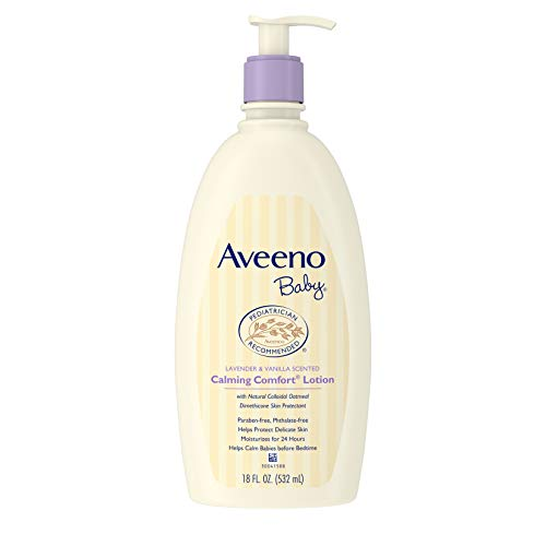 - Aveeno Baby Calming Comfort Moisturizing Lotion with Lavender, Vanilla and Natural Oatmeal, 18 fl. oz
