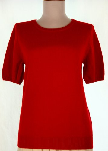 Neck Short Sleeve Cashmere Sweater Red (Large) (Pure Cashmere Cardigan)