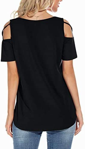 NILOUFO WOMENS SUMMER T SHIRTS SHORT SLEEVE TUNIC STRAPPY COLD SHOULDER TOPS