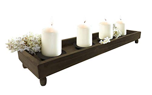 "Wood Candle Tray - 21"" Antique Finish Tray with Four Metal C"