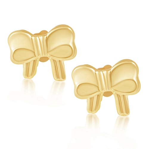 14KT Yellow Gold Children's and Baby Girls Bow Ribbon Stud Earrings – Charming with Secure Screw Back Safety Closure