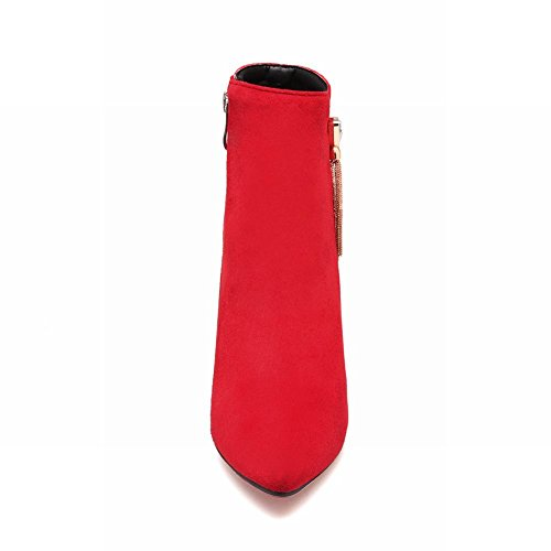 Latasa Womens Pointed-toe Stiletto High Heels Dress Booties Red BsyiU7