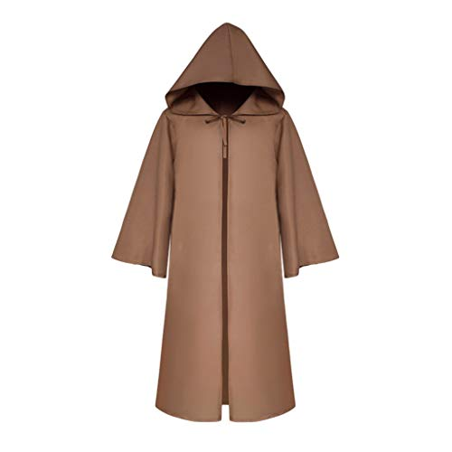 TIFENNY Women Men's Vintage Cape Cloak Half Sleeve Solid Hooded Bandage Cloak Cosplay Outwear Coat Cardigan Coffee