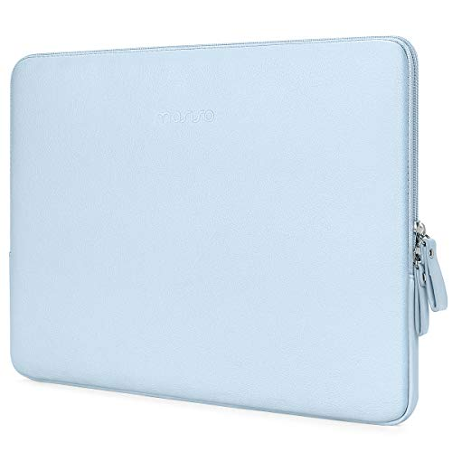 MOSISO Laptop Sleeve Compatible with 13-13.3 Inch MacBook Air/MacBook Pro Retina/2019 2018 Surface Laptop 3/2/Surface Book 2, PU Leather Super Padded Bag Waterproof Protective Case, Light Blue