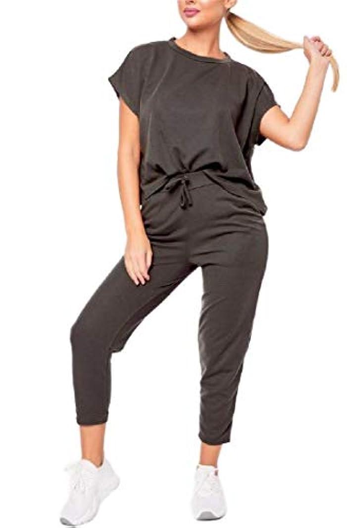農学忌まわしい固めるCandiyer 女性足首パンツ半袖固体2ピーススポーツスウェットスーツセット