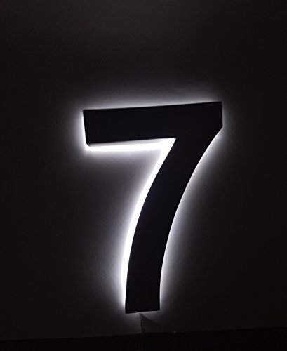 Backlit LED House Numbers (8 Inch WHITE) Big, Modern Address Signs for Homes   Soft, Exterior Glow   Brushed Stainless-Steel Finish   Weather Resistant, Durable, Wired   By JELSCO ()