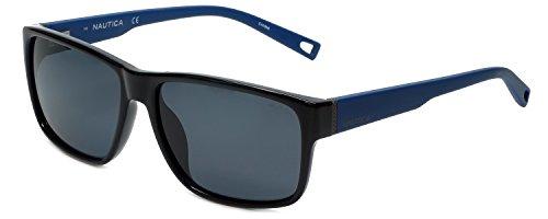NAUTICA N6203S 001 Black Polarized Sunglasses w/ FREE Hard Carrying Case
