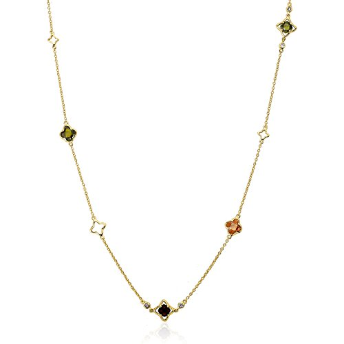 Riccova Arctic Mist 14k Gold-Plated Multi Color Clovers & Gold Open Clovers Chain Necklace/ 36