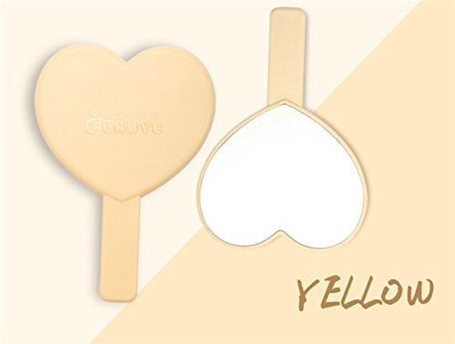 Zhahender Creative Cute Mirror Women's Accessories Mini Heart Shape Hand Mirror Small Glass Mirrors for Crafts Decoration Cosmetic Accessory Yellow by Zhahender