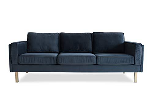 Edloe Finch Saint Albany Mid-Century Modern Grey Velvet Sofa Dark Gray
