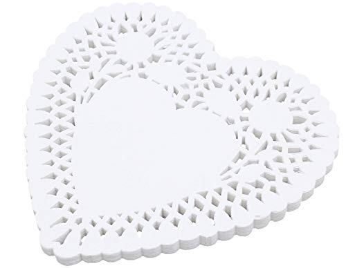 CHOPIC 10 Inch 100 Pieces White Hollowed-Out Heart-Shaped Paper Doilies Cake Packaging , Wedding ,Tableware Decoration