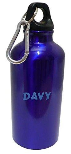 Personalizada Botella cantimplora con mosquetón con Davy (nombre de pila/apellido/apodo) SHOPZEUS