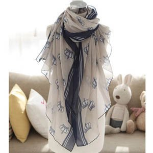 S Cloth Women Crown Print Voile Scarf Wholesale Free Shipping Women Chiffon Wraps