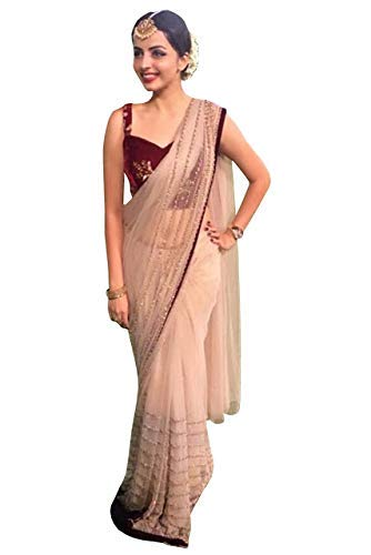 d0faefac7d Indian Designer Net Saree with Velvet Blouse Bollywood Party Wear Sari  Ethnic: Amazon.in: Clothing & Accessories