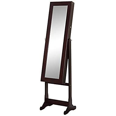 Artiva USA - Espresso Wood Finish – Free Standing Cheval Mirror and Jewelry Armoire Display with LED Light and Key Lock – Organize Accessory – Beautiful & Functional Home Decor – Solid Construction – Jewelry Holder – Make-up Stand – Open Door