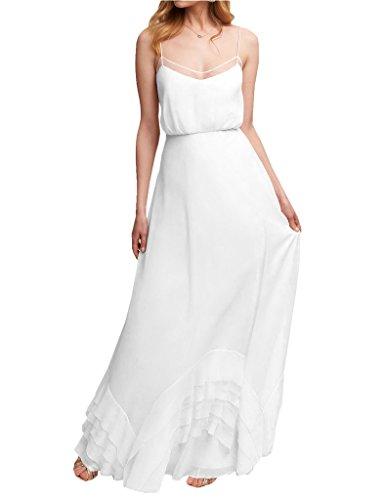 Dress Chiffon Gown Amore Spaghetti Long Strap Prom Women's Bridesmaid Bridal White Wedding xZI7q0wHR