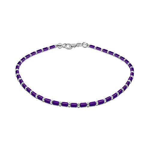 - FRONAY Sterling Silver Purple Anklet Bracelet for Women, Rainbow Multi Color Tube Stones 9