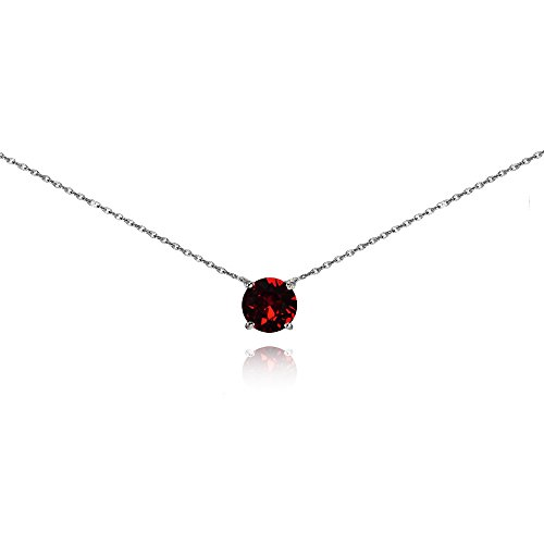 (GemStar USA Sterling Silver Dark Red Solitaire Choker Necklace Set with Swarovski Crystal)