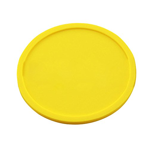 Kaimao Round Silicone Coaster Cup Coffee Drinks Mat Heat Resistant and Non-slip with Lip without any Leakage 10 x0.5cm---Yellow