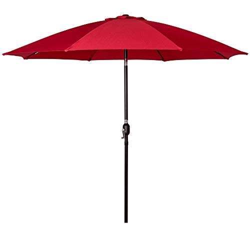 Sundale Outdoor 9 Feet Aluminum Patio Umbrella with Crank and Push Button Tilt, 8 Fiberglass Ribs ()
