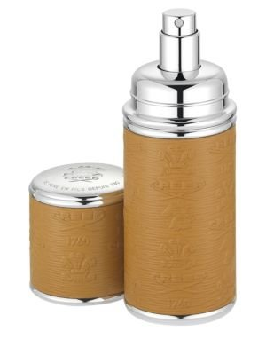 Refillable Leather & Silvertone Trim Pocket Atomizer/Camel