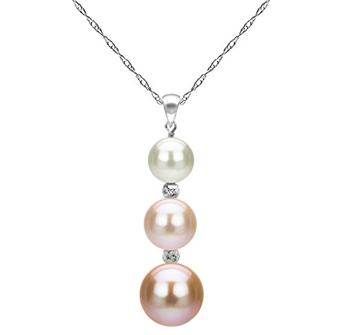 La Regis Jewelry Freshwater Cultured Multi-Pink Pearl Necklace 14K White Gold Pendant Chain Graduation Gift 18 inch