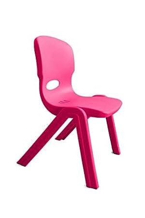 Shocking Pink High Chair For Indoors Outdoor Plastic Kunststoffstuhl