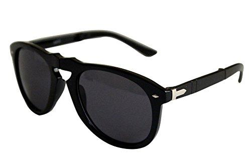 21dffee7f316d Nouvelles lunettes way shape pliante Style plastique Frame lunettes de  soleil (noir   argent cadre noir Lens)  Amazon.fr  Vêtements et accessoires