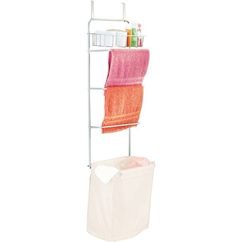 Samsonite Hanging Over The Door Towel Rack Drying Laundry Hamper Organizer Shelf For Bathrooms (Hamper With Shelf)