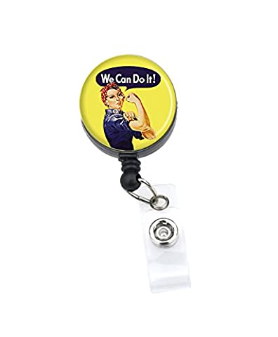 Sizzle City Rhinestone Badge Reels, ID Badge Holder, Name Tag (Alligator/Swivel Clip, Rosie the Riveter)