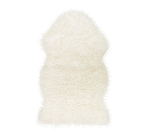 UniM Faux Fur Sheepskin Rug Single - 24 in. X 35 in. Decorative Area Rug Seat Cover Chair Pad (1 Pelt, White) by UniM