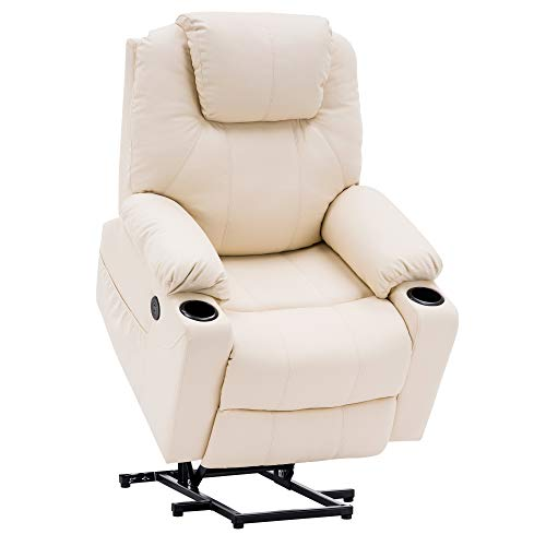 Mcombo Electric Power Lift Recliner Chair Sofa with Massage and Heat for Elderly, 3 Positions, 2 Side Pockets and Cup Holders, USB Ports, Faux Leather 7040 (Cream White)
