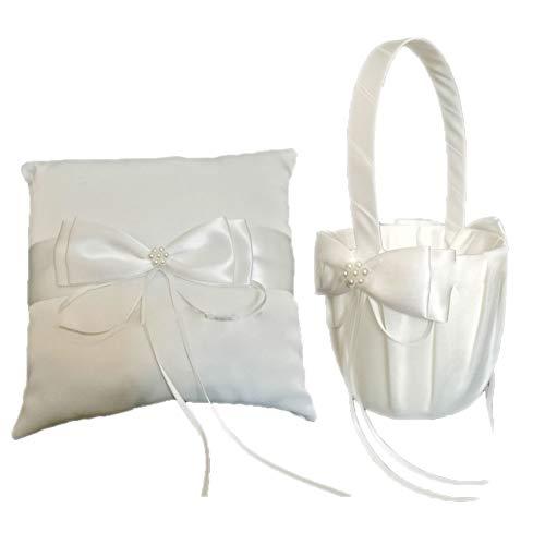 Beautiful Rhinestones Decor Satin Bowknot Ring Bearer Pillow and Wedding Flower Girl Basket Set for Wedding Anniversary Celebrations White